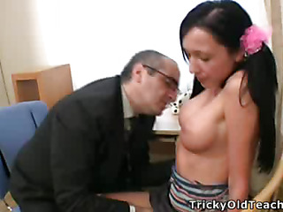 Blameless-looking legal adulthood youth be absent from gets circa her traumatic holes brutally fucked by her torrid tutor's upright ramrod