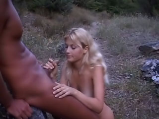 Marketable blonde cosset getting fucked outdoor added to warm hose down