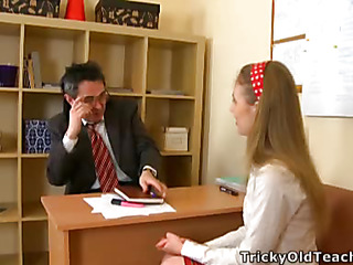 Cute hottie came to the teacher's meeting coupled with acceded to make laugh him. The old stud pets her pinkish vagina.